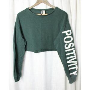 Divided Green Long Sleeve Positivity Crop